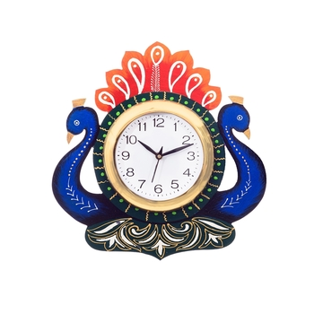 Handcrafted Papier-Mache 2 Peococks Decorative Wall Clock