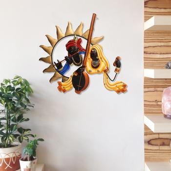 Radha Krishna Playing Flute/Bansuri And Veena Wall Hanging