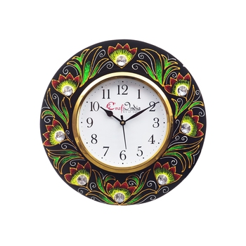 Analog Wall Clock        (Red & Green, With Glass)