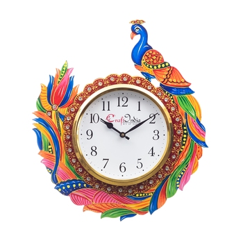 Handicraft Peacock Analog Wall Clock        (Red & Green, With Glass)