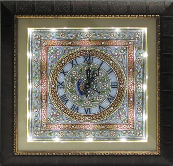 Decorative Marble Handcrafted Wall Clock with LED and Wooden Frame