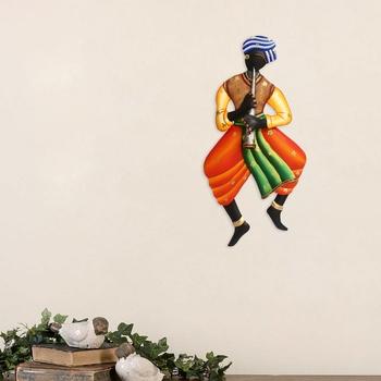 Musician Tribal Man Iron Wall Hanging