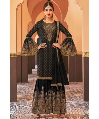 black hand_woven georgette unstitched salwar with dupatta