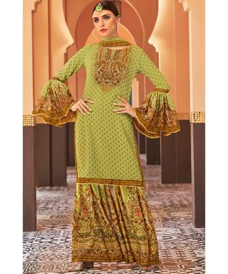 green hand_woven georgette unstitched salwar with dupatta