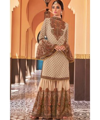 cream hand_woven georgette unstitched salwar with dupatta