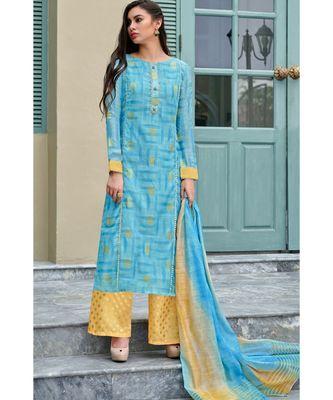 blue printed chanderi unstitched salwar with dupatta