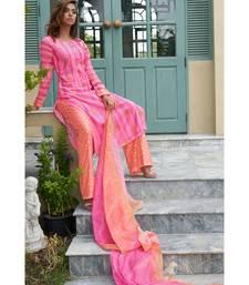 pink printed chanderi unstitched salwar with dupatta