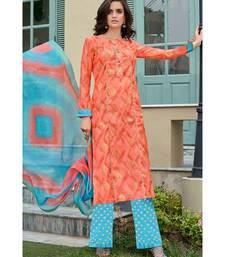 orange printed chanderi unstitched salwar with dupatta
