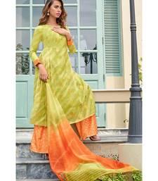 green printed chanderi unstitched salwar with dupatta
