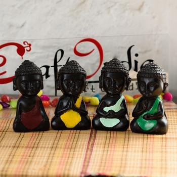 Handcrafted Set of 4 Meditating Buddha- For Home Decor
