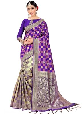 Purple printed silk saree with blouse