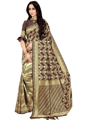 Brown printed silk saree with blouse