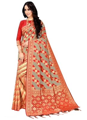 Red Printed Silk Saree With Blouse