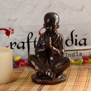 Polyresin Meditating Monk (Brown) - For Home Decor