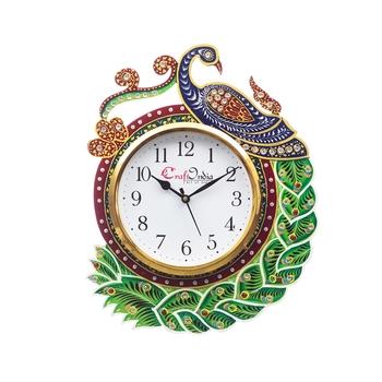 Handicraft Peacock Analog Wall Clock        (Green, With Glass)