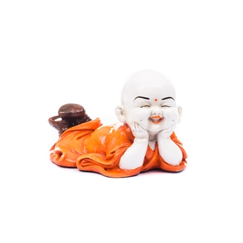 Polyresin Resting Buddha(Orange)