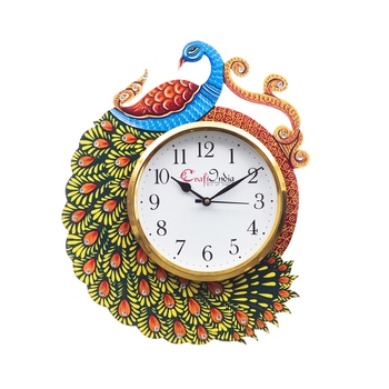 Handicraft Peacock Analog Wall Clock        (Yellow & Blue, With Glass)