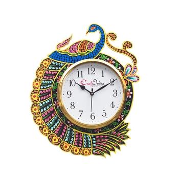Handicraft Peacock Analog Wall Clock(Yellow & Blue, With Glass)