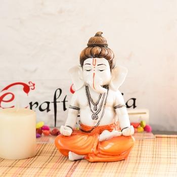 Marble Look Hindu God Shri Ganeshastatue Handicraft Decorative Spiritual showpiece