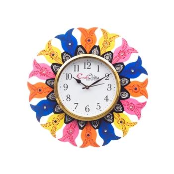 Analog Wall Clock        (Yellow , Blue & Orange, With Glass)