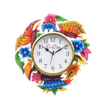Analog Wall Clock        (Pink , Blue & Green, With Glass)