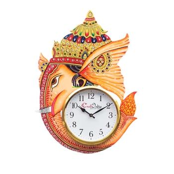 Analog Wall Clock        (Orange, With Glass)