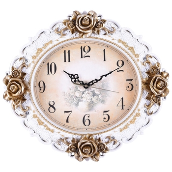 White,Golden Premium Designer Floral Wall Clock( 47 cm X 43 cm)