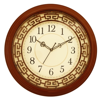 Brown round wooden analog wall clock(38 cm x 38 cm)