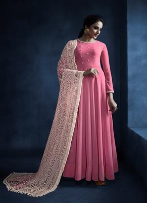 Pink resham embroidery georgette salwar