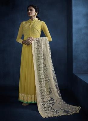 Yellow resham embroidery georgette salwar