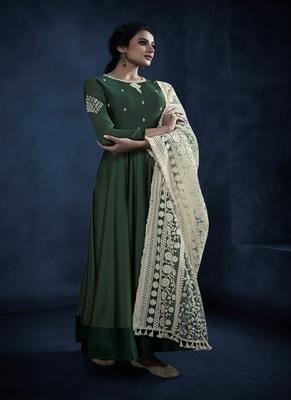 Dark-green resham embroidery georgette salwar