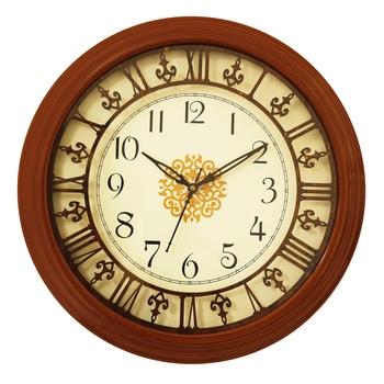Brown round wooden analog wall clock(33 cm x 33 cm)