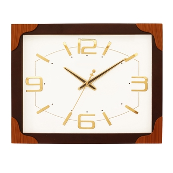 Rosewood rectangle wooden analog wall clock(33 cm x 40.5 cm)