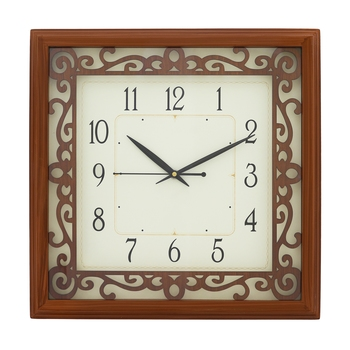 Brown square wooden analog wall clock(33.5 cm x 33.5 cm)