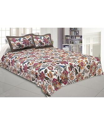 multicolor cotton floral print bed sheets