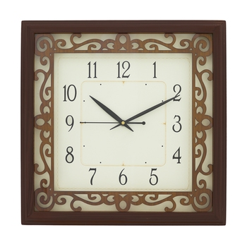 Rosewood square wooden analog wall clock(33.5 cm x 33.5 cm)