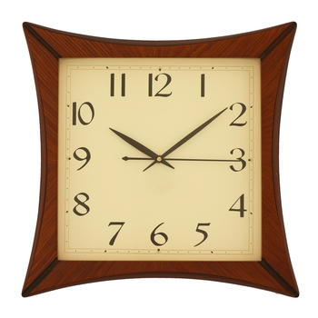 Brown square wooden analog wall clock(32.5 cm x 32.5 cm)