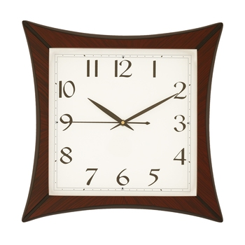Cola Brown square wooden analog wall clock(32.5 cm x 32.5 cm)