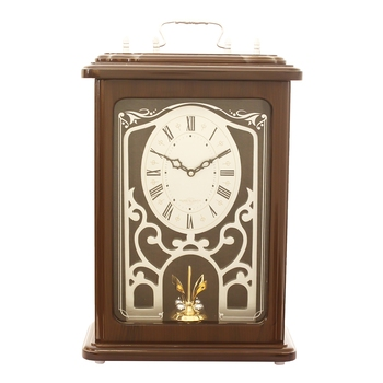 Brown Wooden Roman Numeral Premium Table Clock (14*9.5 Inches)
