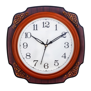 Cola Brown square wooden analog wall clock(25.4 cm x 25.4 cm)