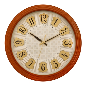 Brown round wooden analog wall clock(33 cm x 33 cm)