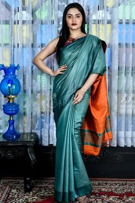 Teal woven viscose saree with blouse