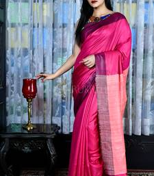 Pink woven viscose saree with blouse