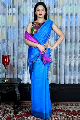 Blue woven viscose saree with blouse
