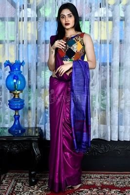 Purple woven viscose saree with blouse
