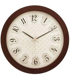 Cola Brown round wooden analog wall clock(33 cm x 33 cm)