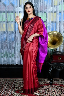 Red woven viscose saree with blouse