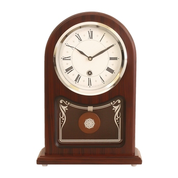 Brown Wooden Roman Numeral Premium Table Clock (13*9 Inches)