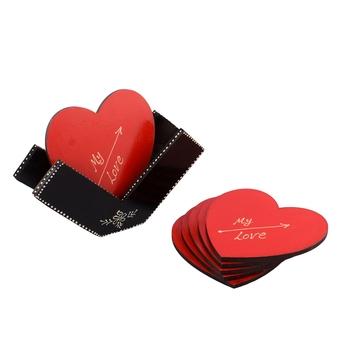 Heart Shape Wooden Tea Coasters(Set of 6)