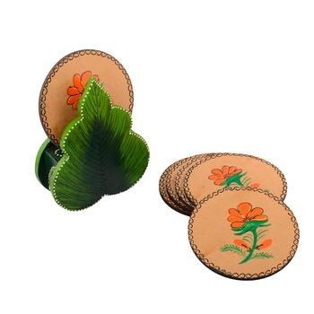 Floral Design Wooden Tea Coasters(Set of 6)